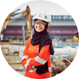 construction woman with hard hat and hijab