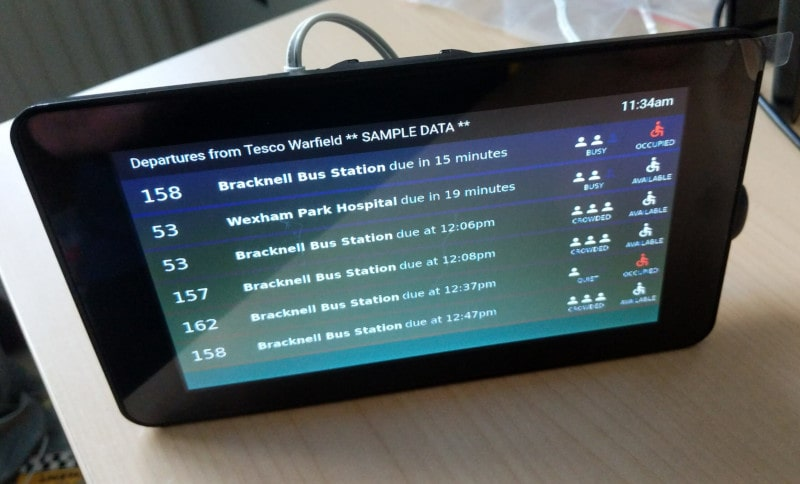 departures sample data on tablet